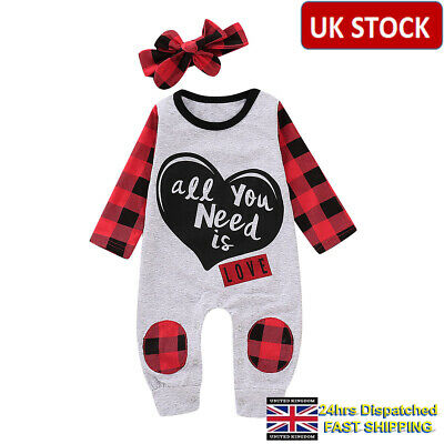 UK Newborn Baby Boys Girl Floral Cotton Romper Bodysuit Playsuit Clothes Outfits