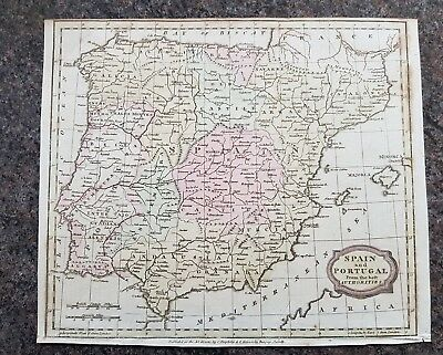 19th century engraving map, Spain and Portugal from the best authorities
