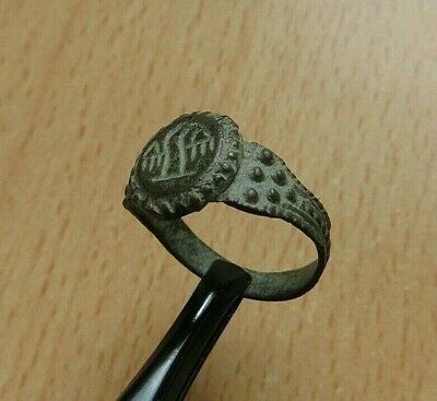 Nice Ancient Roman Legionary Bronze Ring With Eagle - Detector Find