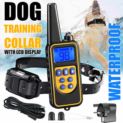 Waterproof Pet Dog Training Collar Rechargeable Electric Shock LCD Display UK