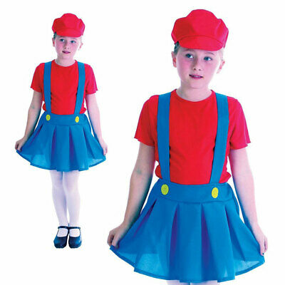 Girls Mario Plumber Costume Kids 1980s Fancy Dress Outfit Childs Book Week Day