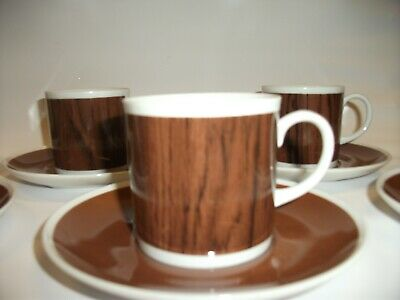 Westminster Australia 1047-6 X Woodgrain Cups And Saucers 70's Small Coffee Cups