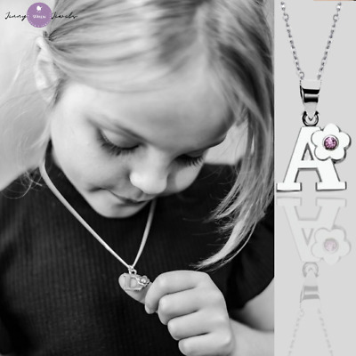 CHILDREN's Jewellery Alphabet Initial Letter Necklace Sterling Silver Chain