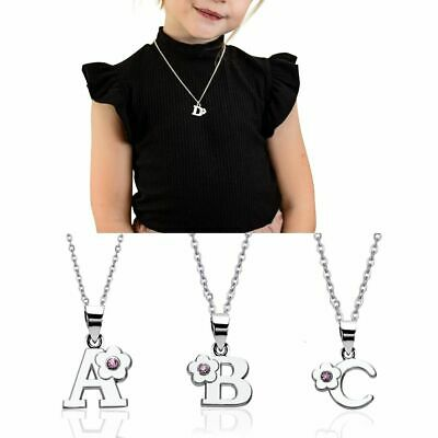 CHILDREN's kids Jewellery Alphabet Initial Letter Necklace Sterling Silver Chain