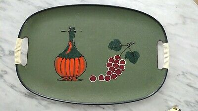 Vintage 1960s abstract mid-century modern table wall art serving tray wine jug