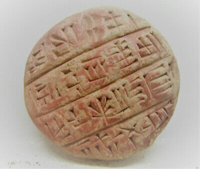 Very Rare Ancient Near Eastern Clay Circular Tablet With Early Form Of Writing.