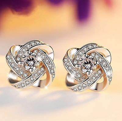 Womens Swirl Earrings Sterling Silver Plated Round  Studs ZIRCON Crystal (r45)