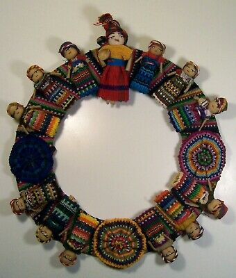 Handmade Guatemalan Worry Doll Wreath Trouble Doll Colorful Wall Decoration 8.5""