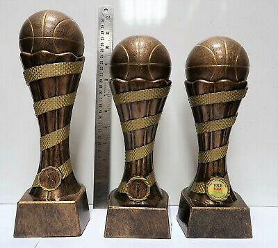 Batch of 3 Resin Sil/Gold Basketball Trophy Awards - Free Engraving