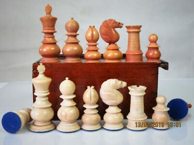 ANTIQUE ENGLISH CHESS SET  VEGETABLE IVORY ST GEORGE PATTERN  K 88 mm  AND BOX