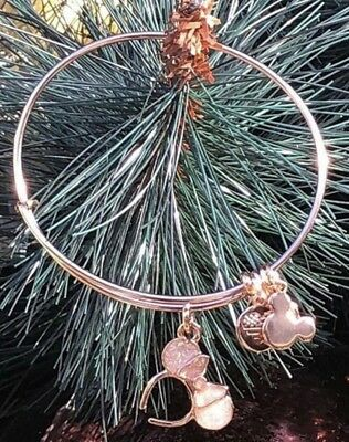 NEW Disney ALEX AND ANI Rose Gold Minnie Ear Hat Icon Rose Gold Bangle Bracelet