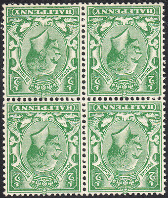 KGV 1924-6 1/2d ½d Green Block Cypher SG418Wi Watermark Inverted Unmounted Mint