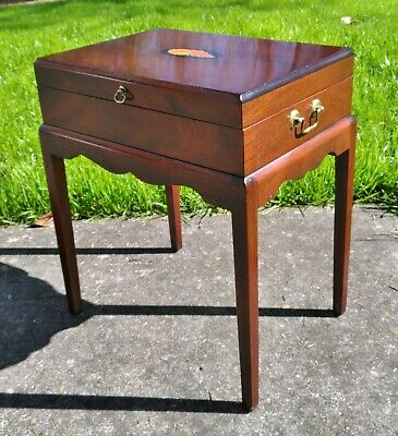 antique style hardwood box on stand inlay conch shell british colonial table