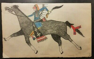ORIGINAL PLANES LEDGER ART - American Indian. Early 1900s. Unsigned.