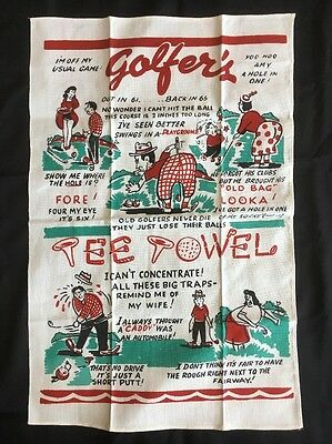 Vintage Risque Golf Golfer's Tee Towel Naughty Sayings Hilarious Excellent