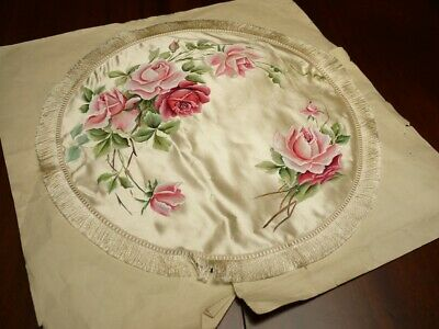 Highly Decorative Unique Antique Handpainted Fringed Satin Table Cover.