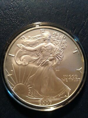 2007 American Silver Eagle 1 Troy OZ. .999 pure Fine One Dollar Coin B