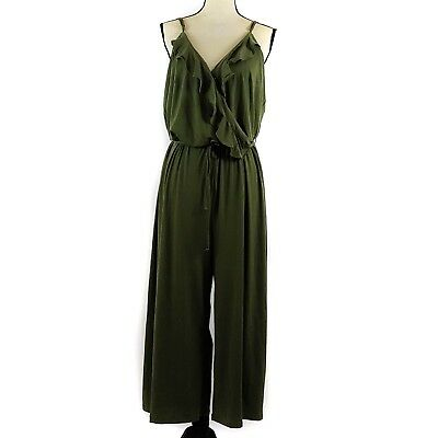 6cce8d4187ec NY Collection Jumpsuit Womens Plus Size 1X Green Sleeveless Cropped Wide Leg