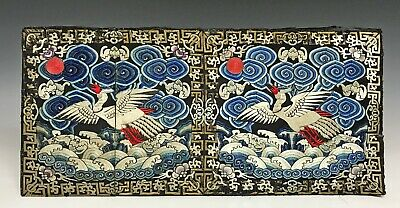 Pair of Old Chinese Silk Textile Rank Badges