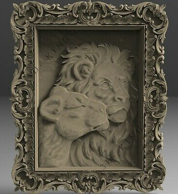 3D STL Model # LIONS IN THE FRAME  # for CNC 3D Printer Engraver Carving Aspire