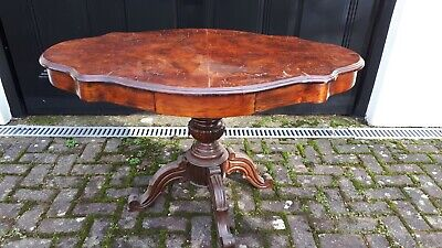 Victorian burr walnut shaped oval loo table on turned centre column with drawers