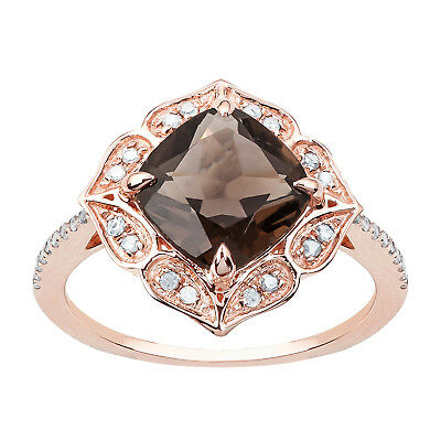 Rose Gold Vintage Style Genuine Cushion-cut Smoky Quartz and Diamond Ring