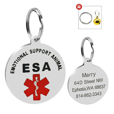 Personalized Dog ID Tags Emotional Support ESA Service Engraved Custom for Pet