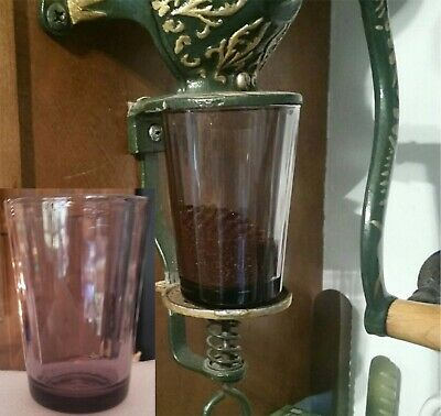 Coffee Catch Cup Glass fits Antique Arcade Golden Rule Grinder Columns Amethyst