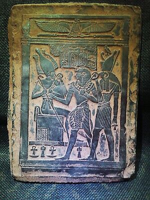 EGYPTIAN ANTIQUE ANTIQUITIES Osiris on the Throne Stela Relief 1216-1232 BC