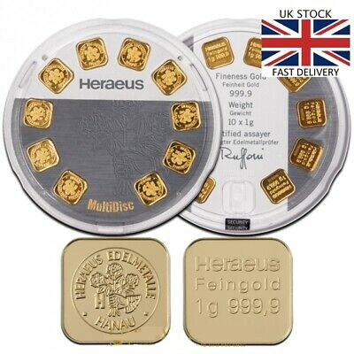 🇬🇧 Heraeus MultiDisc 10 x 1g  Gram Great GIFT INVESTMENT FREE FAST DELIVERY