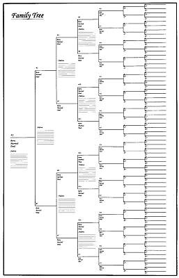 "5 Pack of Large Family Tree Charts 18"" x 24"""