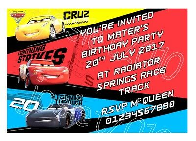 Personalised Cars 3 Lightning McQueen Birthday Party Invitations Pack Of 12
