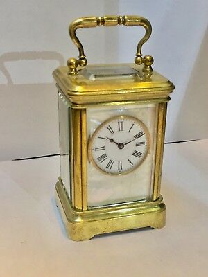 A Henri Jacot Mother Of Pearl Miniature Carriage Clock c.1800's