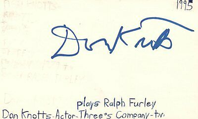 Don Knotts Actor Three's Company TV Show Autographed Signed Index Card JSA COA