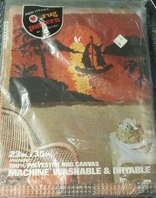 Printed Latch Hook Rug Canvas Red Heart Sunset Design Tree Boat Sun Water NEW