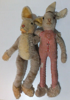 """2x 60/70s Vintage Steiff """"Lulac"""" Rabbits, Mohair, 16.93 inch, 2 cool buddys :-D"""
