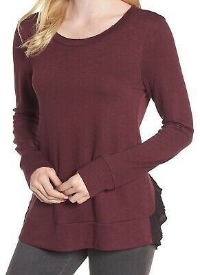 0e2a9319db Chelsea28 NEW Purple Womens Size XS Scoop Neck Tulle-Back Sweater  89- 767