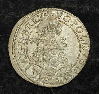 "1670, Emperor Leopold I ""the Hogmouth"". Beautiful Silver 3 Kreuzer Coin. XF-AU!"