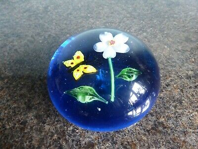 Large Blue Glass Paperweight - Flowers and Butterfly
