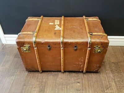 Fabulous Leather & Oak Bound Trunk