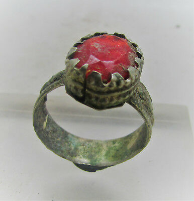 Circa 1702-1714Ad Queen Anne Period Silvered Ring With Red Stone
