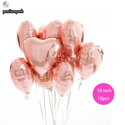 "10 x Rose Gold 18"" HEART Shape Foil BALLOON Valentine Wedding Engagement Love"