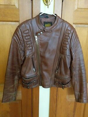 Vintage Brown Leather PROTECH Motorcycle Moto Padded Racing Jacket 40