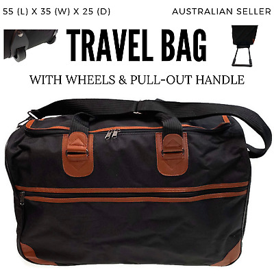 Large Duffle Bag with Wheels & Handle Travel Suitcase Sports Tote Gym Camping