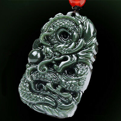 Chinese Hand Carved Natural Hetian Jade Black-Green Jade Dragon Pendant Necklace