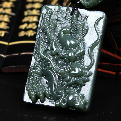 Natural Black-Green Jade Dragon Pendant Necklace Chinese Hand Carved Pendant AAA