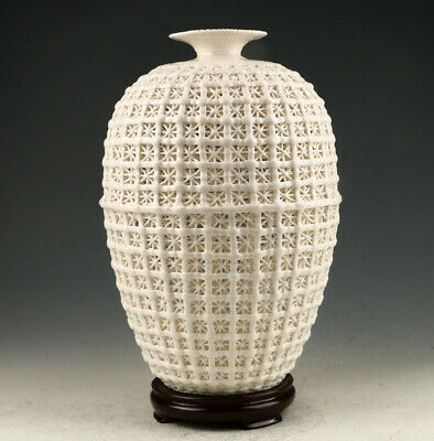 Exquisite Dehua Porcelain Hand Carved Hollow Out Vase AAA0259