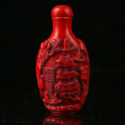 China Exquisite Red Coral Hand Carved Trees & Pavilions Snuff Bottle R2010