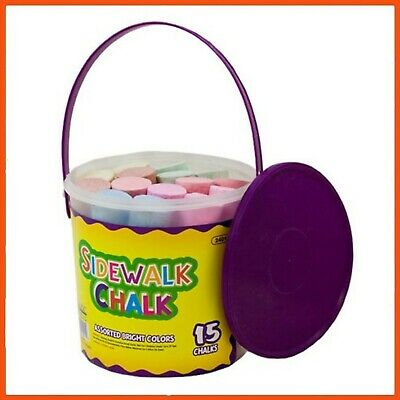 24 x JUMBO SIDEWALK CHALK IN BUCKET 15pcs | Kids Craft Art Colouring Drawing Pen