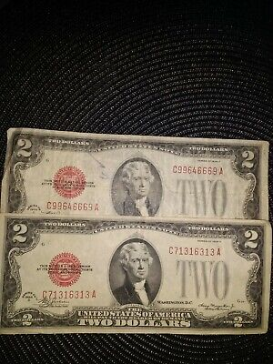(2) 1928D red seal two dollar bills